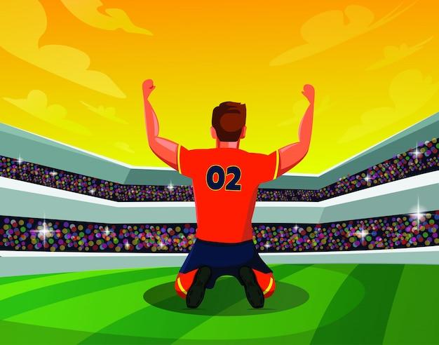 Vista traseira, de, futebol, ou, futebolista, kneeing