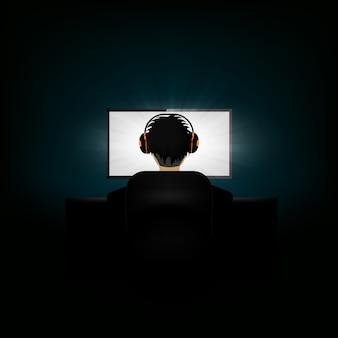 Vista traseira, de, homem, trabalhar, a, computador, desgastar, fones