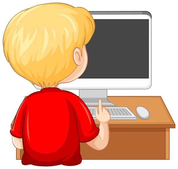 Vista traseira de um menino com o computador na mesa em fundo branco
