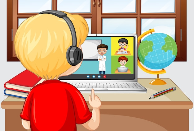 Vista traseira de um menino em videoconferência com amigos em casa