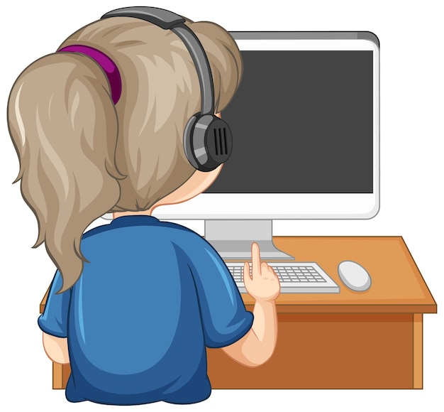 Vista traseira de uma menina com o computador na mesa em fundo branco