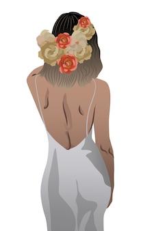 Vista traseira de uma mulher em um vestido branco e flores trançadas no cabelo
