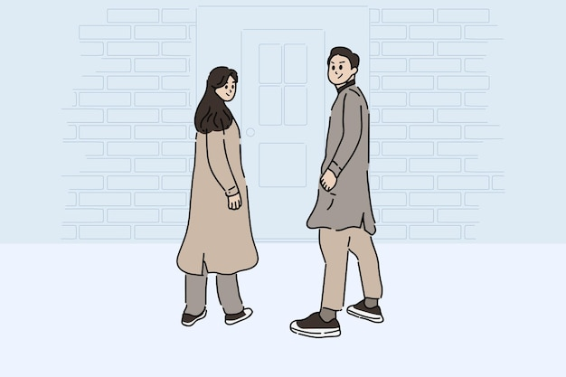 Vista traseira de uma pose de casal na frente da porta. mão-extraídas ilustração vetorial de estilo de jovem casal feliz