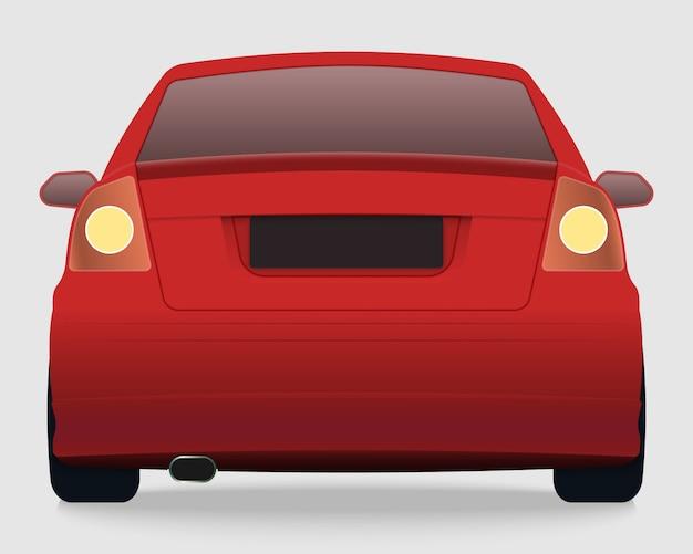 Vista traseira do carro vermelho
