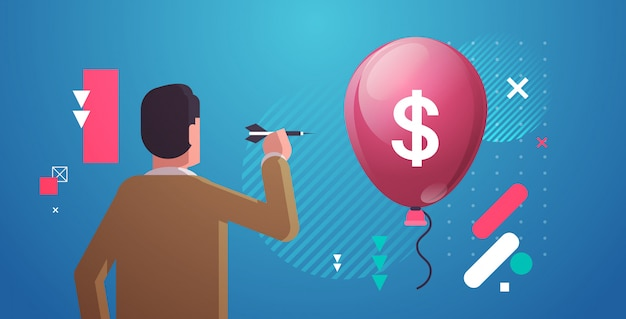 Vista traseira, homem negócios, jogando dardos, para, ar, balão, com, sinal dólar, crise financeira, falência, renda, conceito perda, retrato, horizontal