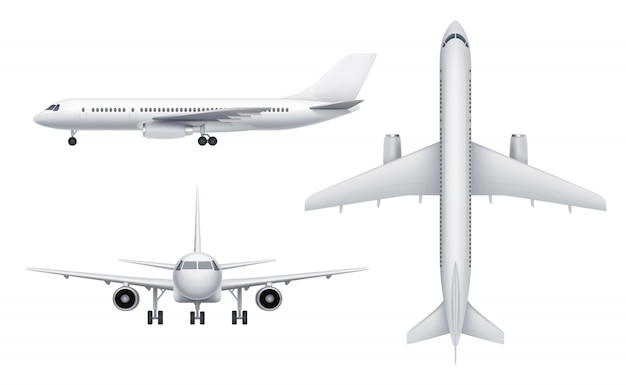 Vistas de aeronaves civis. avião de passageiro branco em várias vistas voar transporte realista s