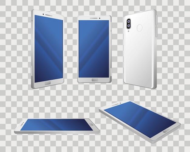 Vistas diferentes de maquetes realistas de smartphones