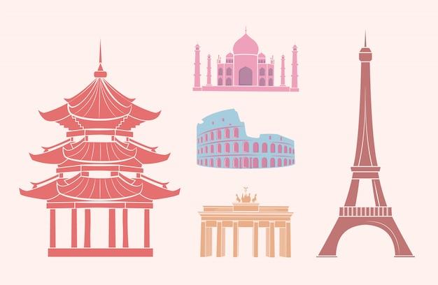 Vistas e atrações famosas em etiquetas de viagem