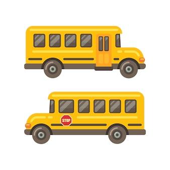 Vistas laterais do ônibus escolar amarelo