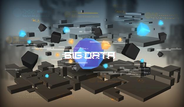Visualização abstrata de big data. design estético futurista. fundo de grande volume de dados com elementos de hud.