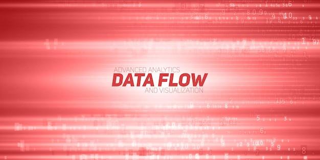 Visualização abstrata de big data. fluxo vermelho de dados como cadeias de números. representação do código de informação. análise criptográfica. bitcoin, transferência de blockchain. fluxo de fundo de dados codificados