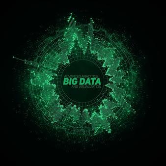 Visualização circular de big data; infográfico futurístico; design estético de informações