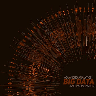 Visualização circular laranja de big data.