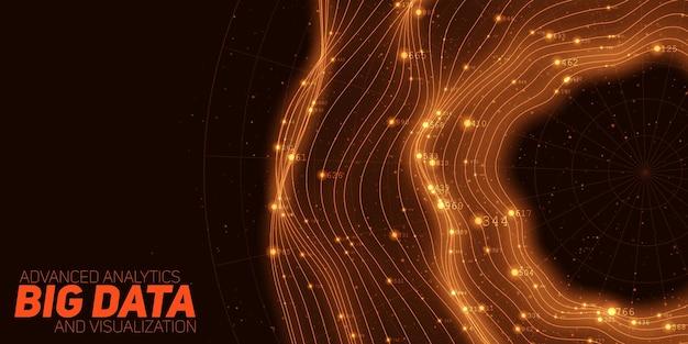 Visualização circular laranja de big data