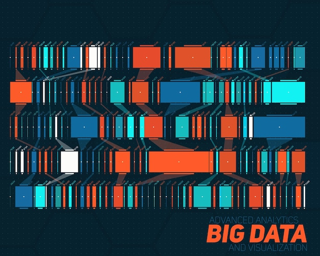 Visualização colorida de big data. visualização gráfica de threads de dados complexos. rede social, gráfico abstrato de dados.