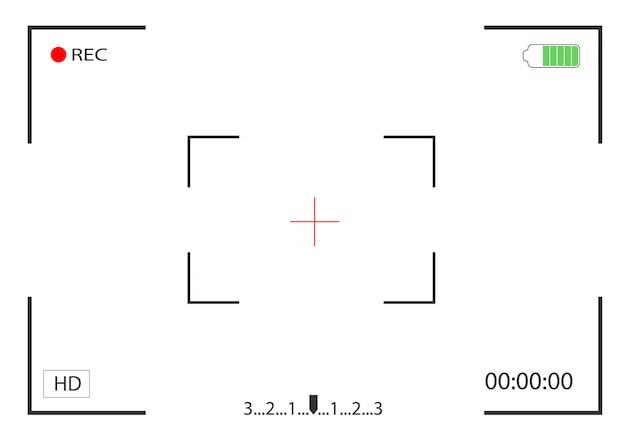 Visualização da câmera e foco na gravação de tela. visor do quadro da câmera.
