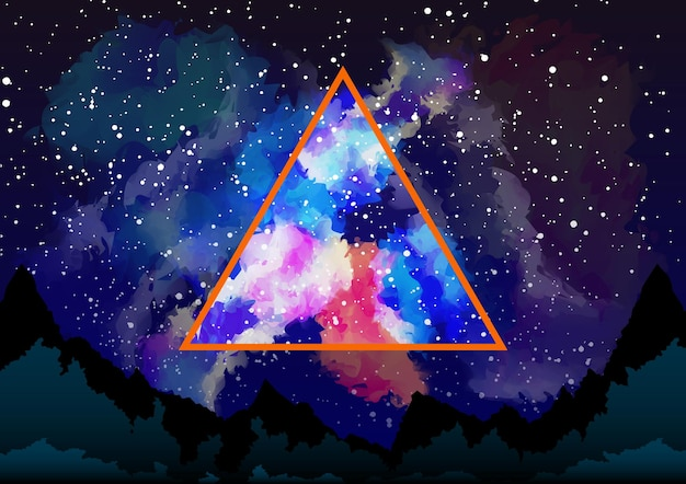Visualização da galáxia mística através do triângulo astral