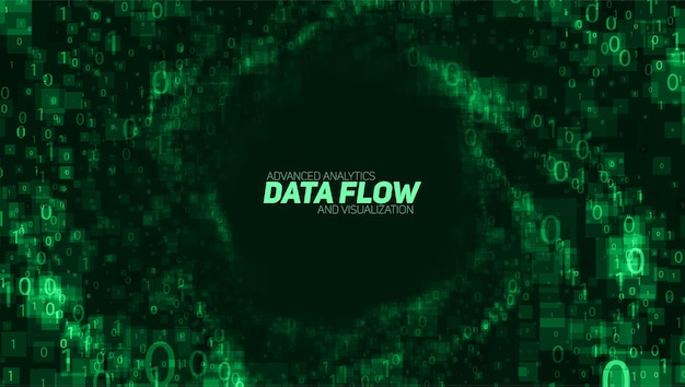 Visualização de big data abstrata do vetor. fluxo de dados brilhante verde como números binários. representação de código de computador. análise criptográfica, hacking. bitcoin, transferência de blockchain.