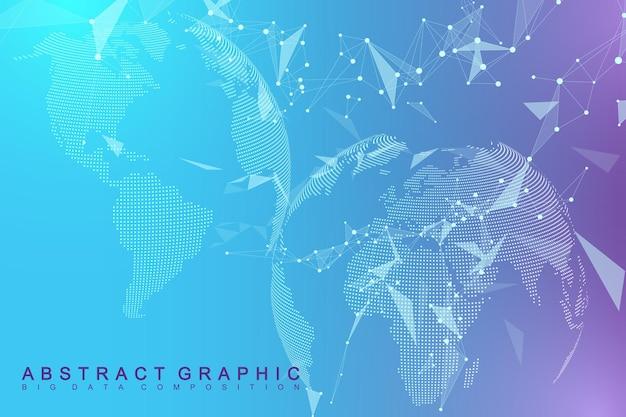 Visualização de big data com um globo mundial. fundo abstrato do vetor com ondas dinâmicas. conexão de rede global. ilustração abstrata do sentido tecnológico.