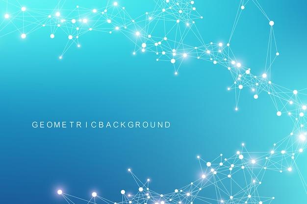 Visualização de big data. complexidade da informação visual do fundo abstrato geométrico. projeto de infográficos futuristas. fundo de tecnologia com linha e pontos conectados, fluxo de onda. ilustração vetorial.
