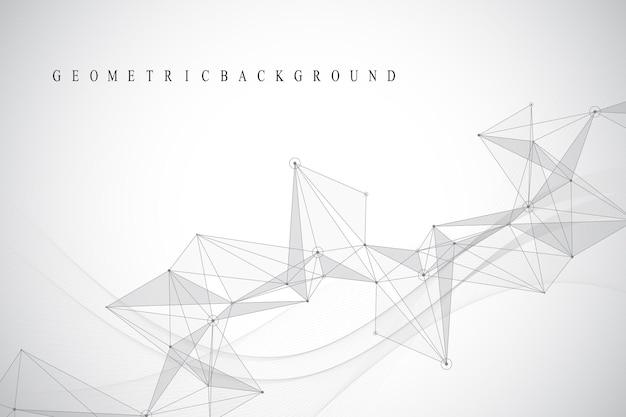Visualização de big data. comunicação gráfica de fundo abstrato. visualização do cenário em perspectiva. visualização de rede analítica. ilustração vetorial.