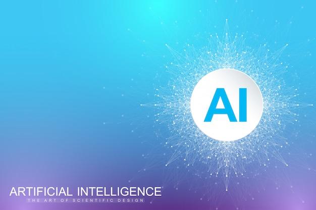 Visualização de big data. inteligência artificial e conceito de aprendizado de máquina. comunicação gráfica abstrata. visualização de cenário em perspectiva.