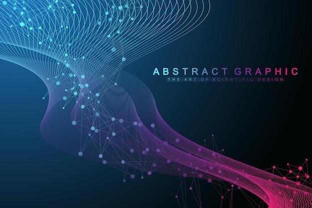 Visualização de big genomic data. hélice de dna, fita de dna, teste de dna. molécula ou átomo, neurônios. estrutura abstrata para ciência ou formação médica, banner. fluxo de ondas.