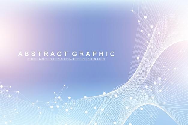 Visualização de big genomic data. hélice de dna, fita de dna, teste de dna. molécula ou átomo, neurônios. estrutura abstrata para ciência ou formação médica, banner