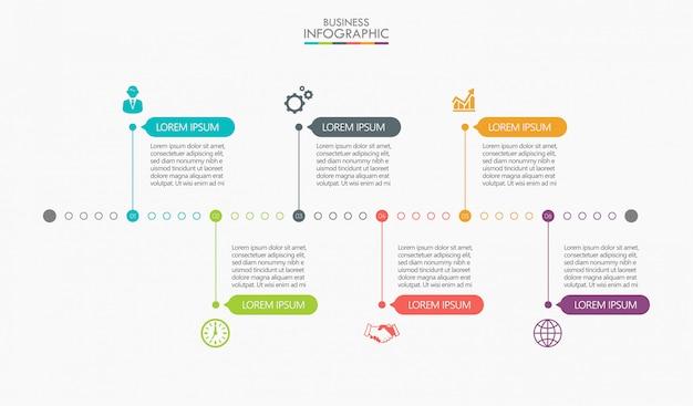 Visualização de dados corporativos. infográfico de linha do tempo