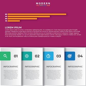 Visualização de dados de elementos modernos infográfico