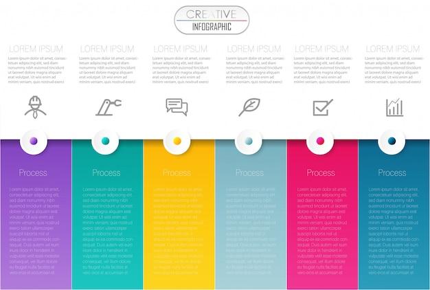 Visualização de dados de negócios colorido timeline infographic modelo vector illustration