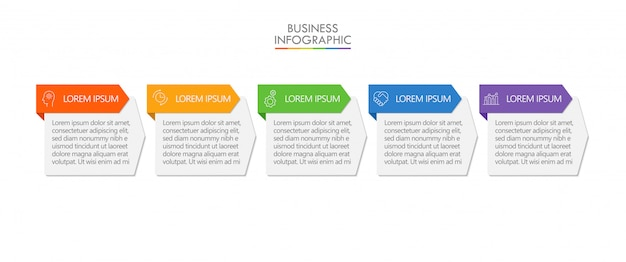 Visualização de dados de negócios. cronograma infográfico ícones projetados para modelo abstrato