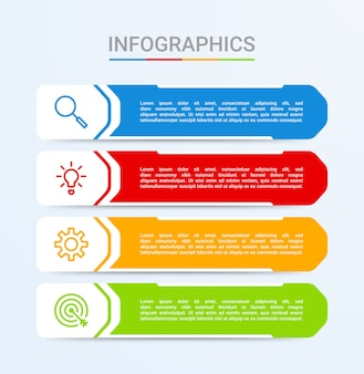 Visualização de dados de negócios, modelo de infográfico com 4 etapas em fundo azul