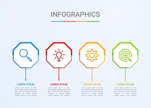 Visualização de dados de negócios, modelo de infográfico com 4 etapas