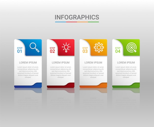 Visualização de dados de negócios, modelo infográfico com 4 etapas