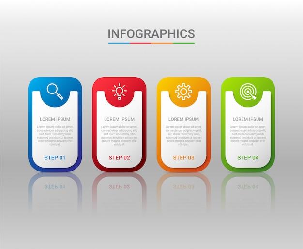 Visualização de dados de negócios, modelo infográfico com etapas em fundo cinza, ilustração