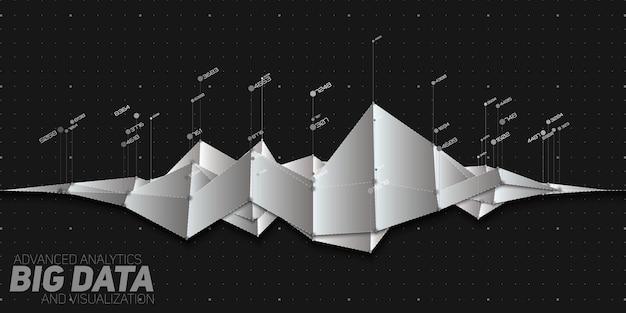 Visualização de gráfico de grande volume de dados financeiros abstratos em tons de cinza do vetor.
