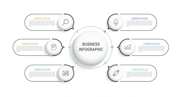 Visualização de modelo infográfico de dados comerciais em uma linha do tempo com 6 etapas. diagrama de fluxo de trabalho ou banner para web design.