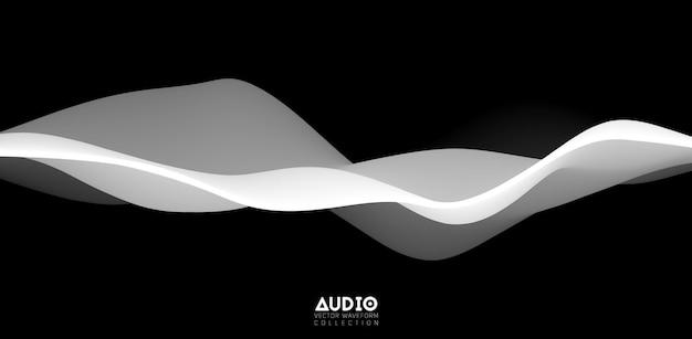 Visualização de ondas sonoras. forma de onda sólida 3d em preto e branco.