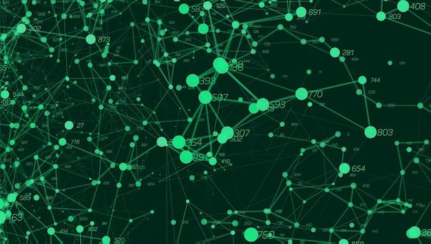 Visualização de plotagem de pontos colorida abstrata de big data do vetor. projeto de plano de fundo futurista.