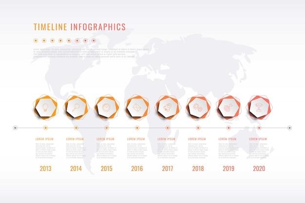 Visualização moderna da história corporativa com elementos hexagonais, indicação do ano e mapa do mundo