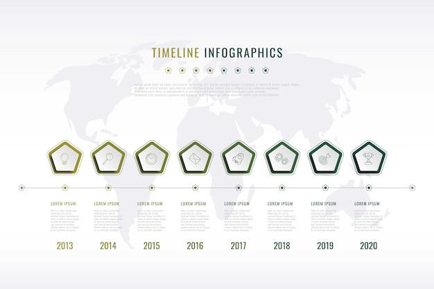 Visualização moderna da história corporativa com elementos pentagonais, indicação de ano e mapa do mundo