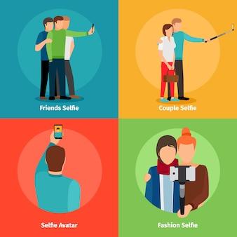 Visualizações de moda selfie para aplicativo móvel de foto