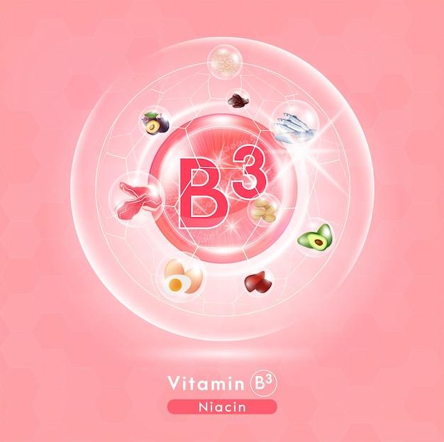 Vitamina b3 cápsula do comprimido rosa complexo de vitaminas com fórmula química frutas e vegetais