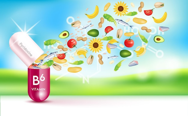 Vitamina b6 cápsula, frutas vermelhas e vegetais, fibra vitamina que neutraliza os radicais livres