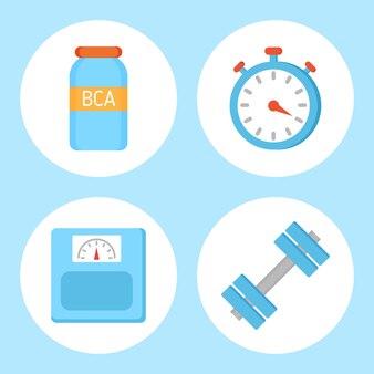 Vitamina bcaa e temporizador definir ilustração vetorial