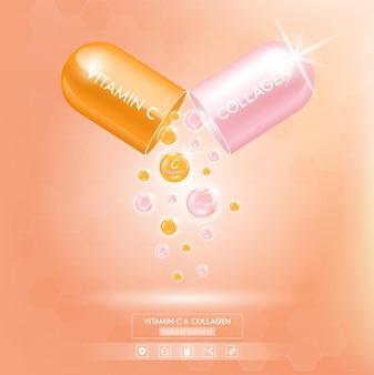Vitamina c laranja e pacote de colágeno rosa com solução de soro em cápsula