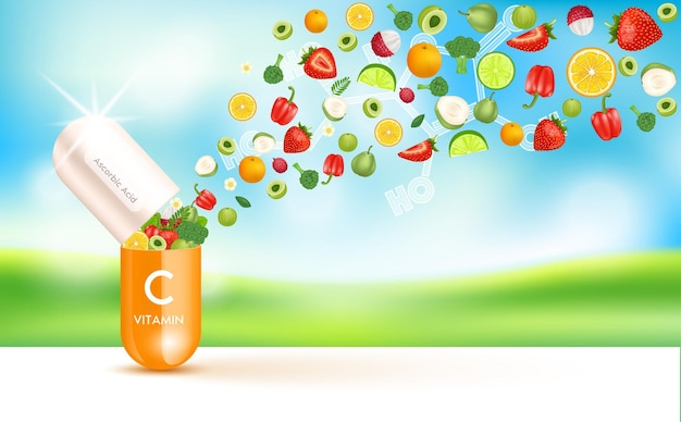 Vitamina c medicina cápsula substância laranja frutas e vegetais que neutralizam os radicais livres