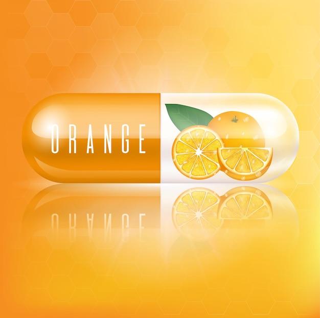 Vitamina cápsula de laranja com fatias de laranja e folhas conceitos médicos e suplementos de saúde
