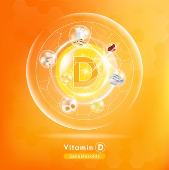 Vitamina d cápsula do medicamento substância laranja anti-envelhecimento conceito de aprimoramento de beleza e cuidados de saúde